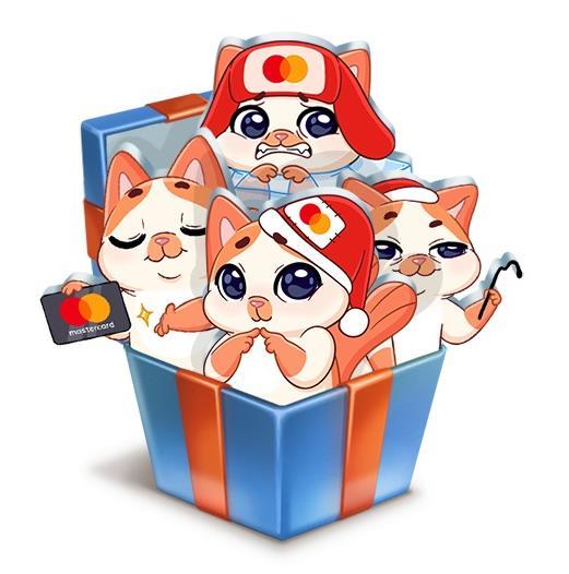 новых бесплатных стикеров «Зима с Миу-Мяу от Mastercard